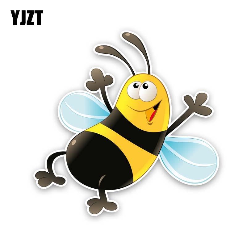YJZT, 14 см * 14 см, счастливые пчелы, ПВХ наклейка, автомобильная наклейка 12-300658
