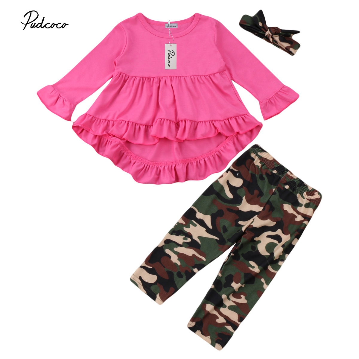 Christmas Little Girls Dress Pants Headband Clothing Set Kids Baby Girl Camo Outfits Clothes Top Dresses+Camoflage Pants Set