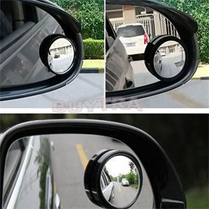 2Pcs Car Wide Angle Small Round Convex Blind Spot Dead Zone Rearview Mirror