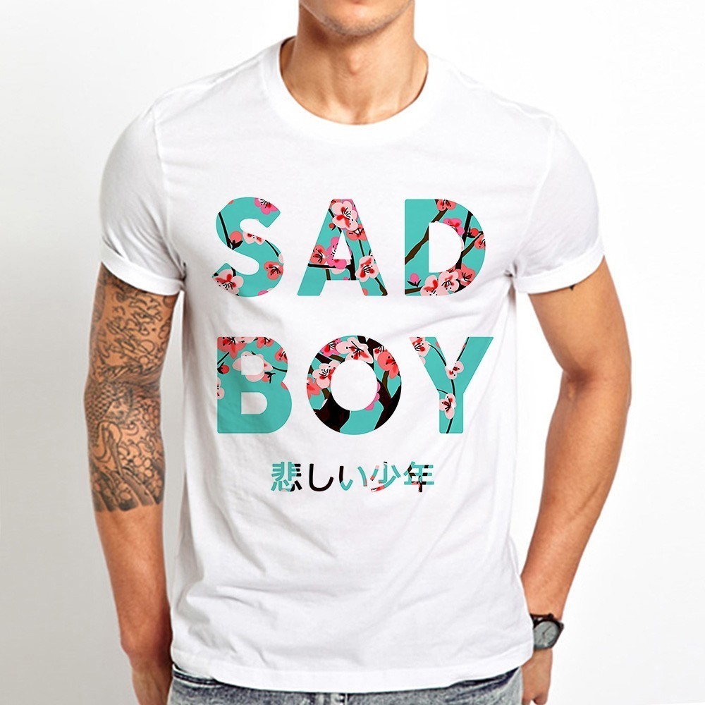 Japan Style Aesthetic Vaporwave Sad Boy Funny T Shirt Men 2019 Summer New White Casual Homme Cool Tshirt