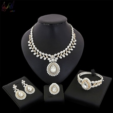 YULAILI New Arrival Hot Wedding Jewelry Sets Womens Gold Color White CZ Zircon Necklace Bangle Earrings Ring Accessories