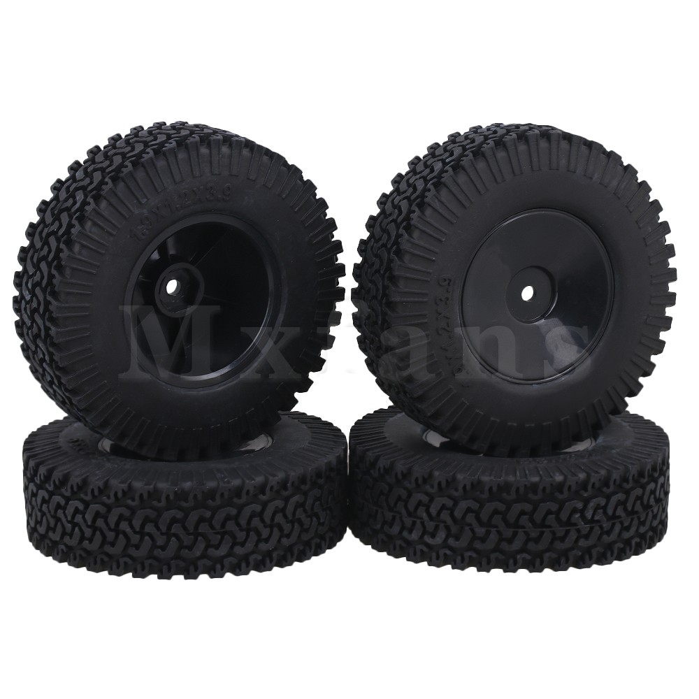 Mxfans 1.9 Inch RC 1:10 Rubber Tire & Plastic Disc Type Wheel Hub Model Accessary for Rock Crawler Pack of 4