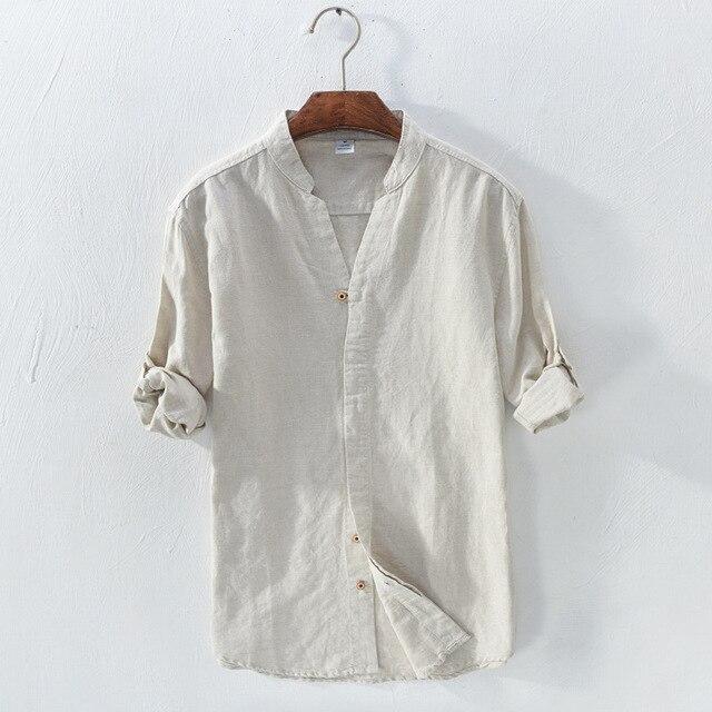 49dbd7446ef men s v-neck long sleeve shirt white kahki dark blue summer casual shirts  men pure linen shirt for men design shirts male 2018