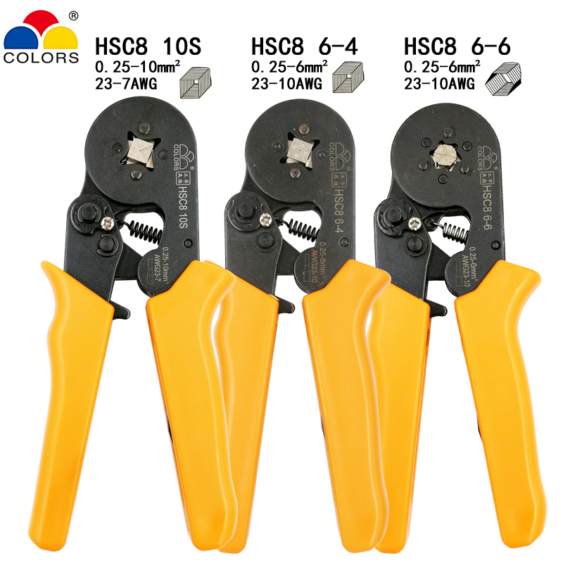 HSC8 10S crimping pliers 0.25-10mm2 23-7AWG HSC8 6-4/6-6 with 1020pcs/box tube type needle terminal mini Pressure wire tools