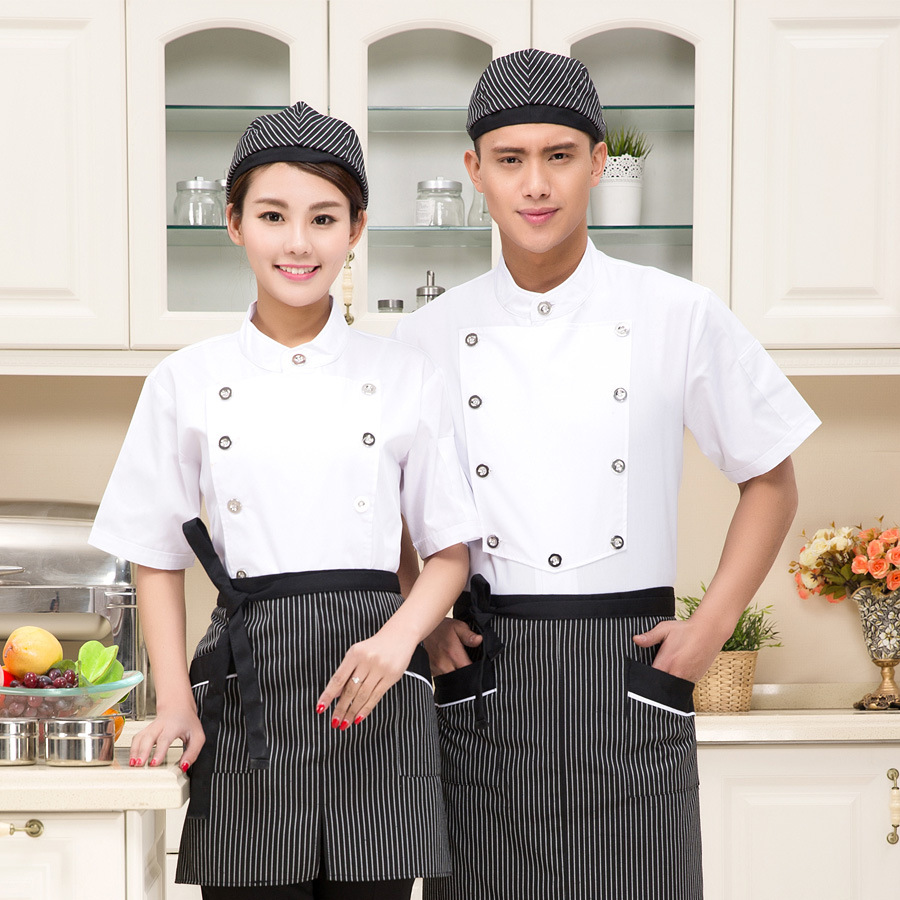 New Arrival Hotel Overalls Short Sleeve Summer Chef Suits Jacket Short-sleeved Hotel Restaurant Dining Room Cake Uniform B-6147