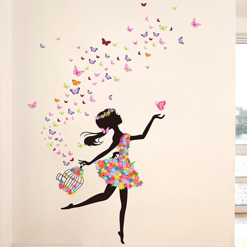 colorful buterfly flower girl wall sticker home decor pvc flower