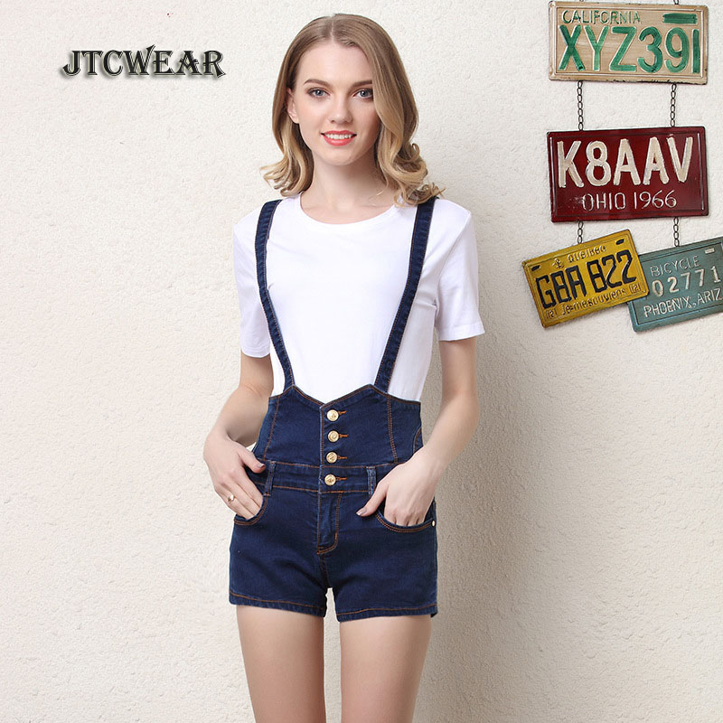 JTCWEAR Woman Spaghetti Strap Denim Shorts Suspenders Jumpsuits Plus Size 3xl 4xl Jeans  ...