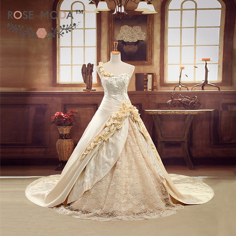 Luxury Champagne Gold 3D Roses Royal Wedding Ball Gown Cathedral Train Fully Embroidery Corset Church