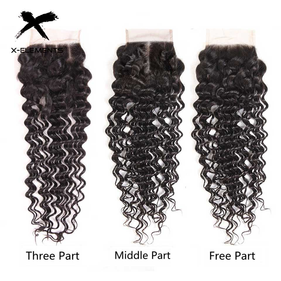 Brazilian Deep Wave Bundles with Closure 100% Human Hair Extensions with Closure Non-Remy 3 Bundles with Closure X-Elements Hair (11)