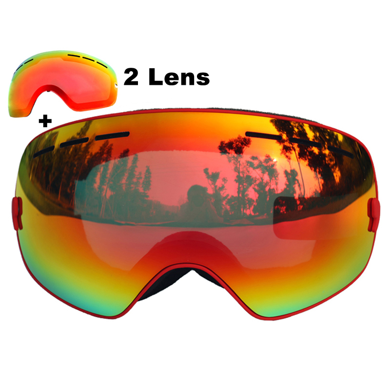 Brand Ski Goggles Double Layers UV400 Anti-fog Big Ski Mask Glasses Skiing Snowboard Goggles With Red Lens pelliot brand ski goggles double layers