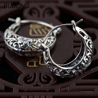 BUDONG Real 925 Sterling Silver Hoop Earring For Women Fashion Huggies Hollow Out Basket Silver Loop