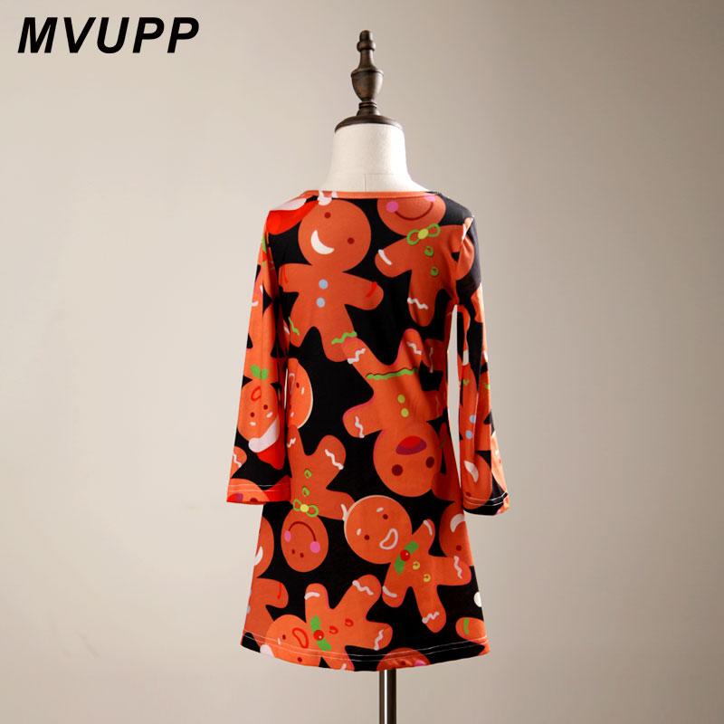 634d8b2e66b27 MVUPP Mère fille robes Genou Longueur Robe De Noël Imprimé Orange Mignon  famille vêtements assortis matchy matchy femmes Robe dans Famille Des  Vêtements ...