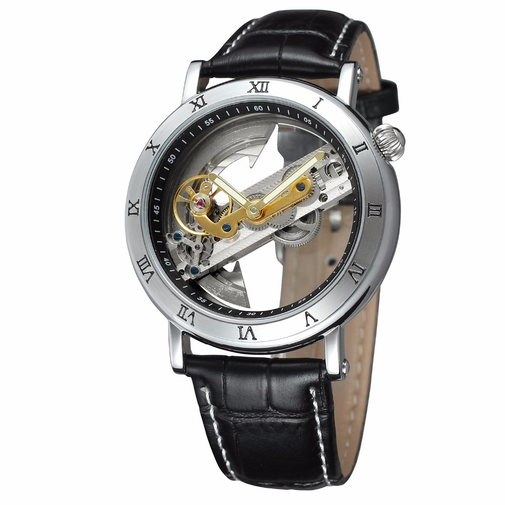 New Luxury Transparent TourbIiion Dial Silver Case Roman Number Skeleton Black Band Automatic Self Wind Mechanical Mens Watch luxury women hand winding mechanical wrist watch genuine leather band strap dress wind up skeleton roman number stylish