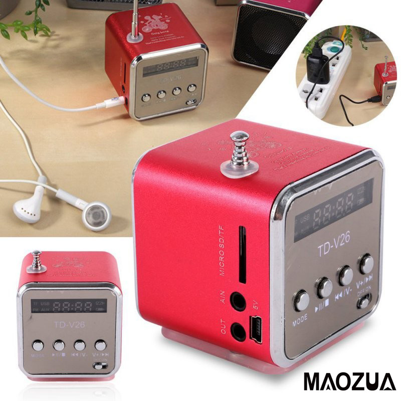 Mini Portable Wireless Speaker TD-V26 Support Micro SD/TF Card Player Loudspeaker with FM Radio Receiver LED Screen 6 Colors