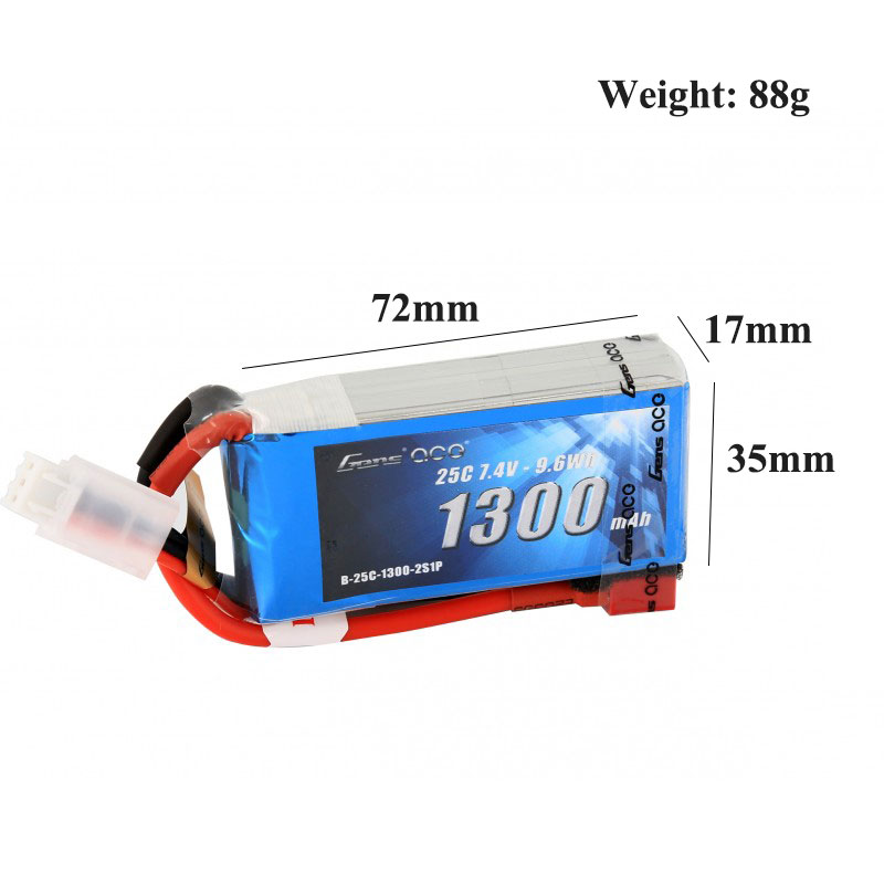 B-25C-1300-2S1P Gens ace 1300mAh 7.4V 25C 2S1P Lipo Battery Pack