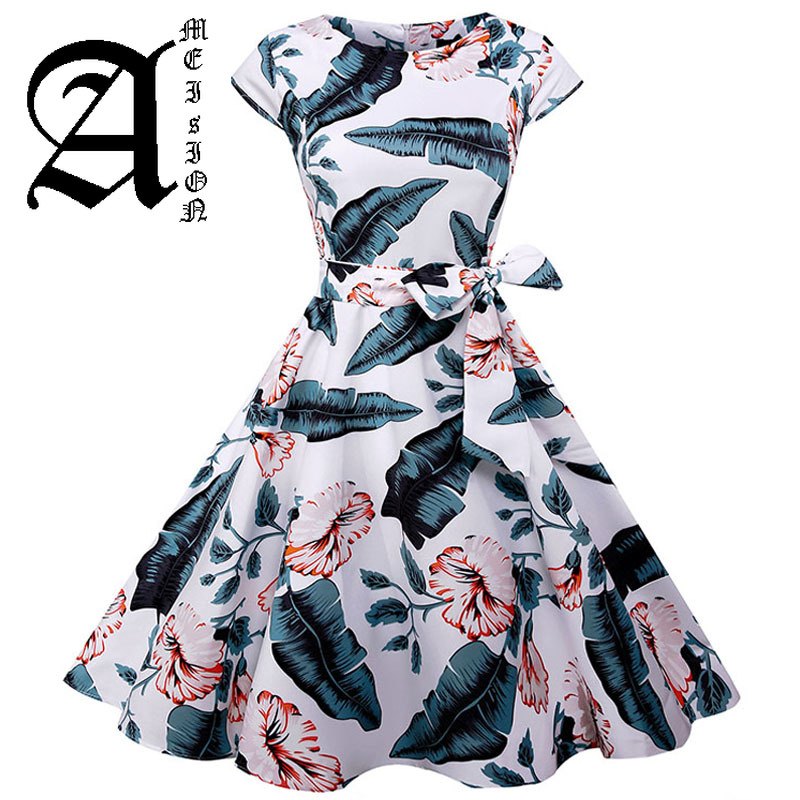 Casual Floral Summer Dress Women Cap Sleeve 1950s Vintage Rockabilly Dress Elegant Evening Party Dresses Sundress Vestidos in Dresses from Women 39 s Clothing