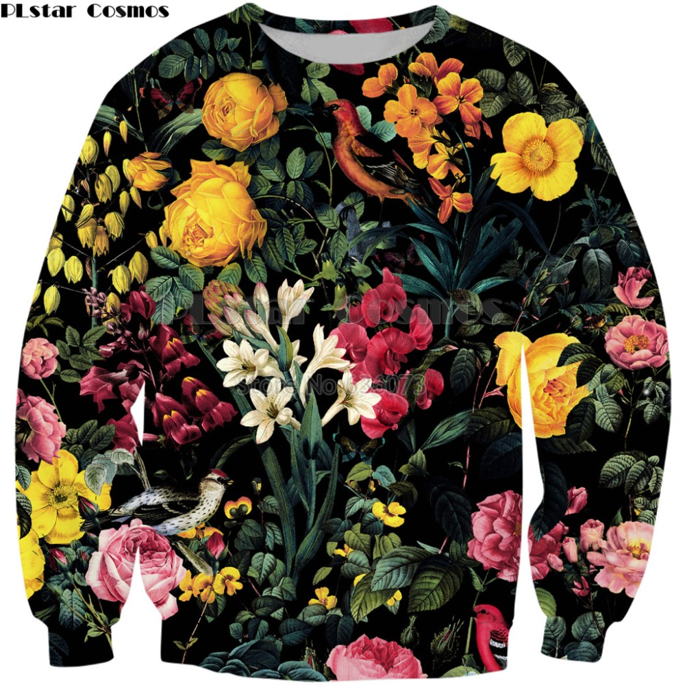 PLstar Cosmos 2018 New Fashion Sweatshirt Floral And Birds Pattern 3D Print Crewneck Sweatshirt Mens Women Casual Pullovers