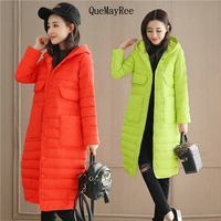 Women Winter Jacket 2017 New Cotton Parka Loose Solid Color Hooded Long Wadded Quilted Women long Coats Jackets
