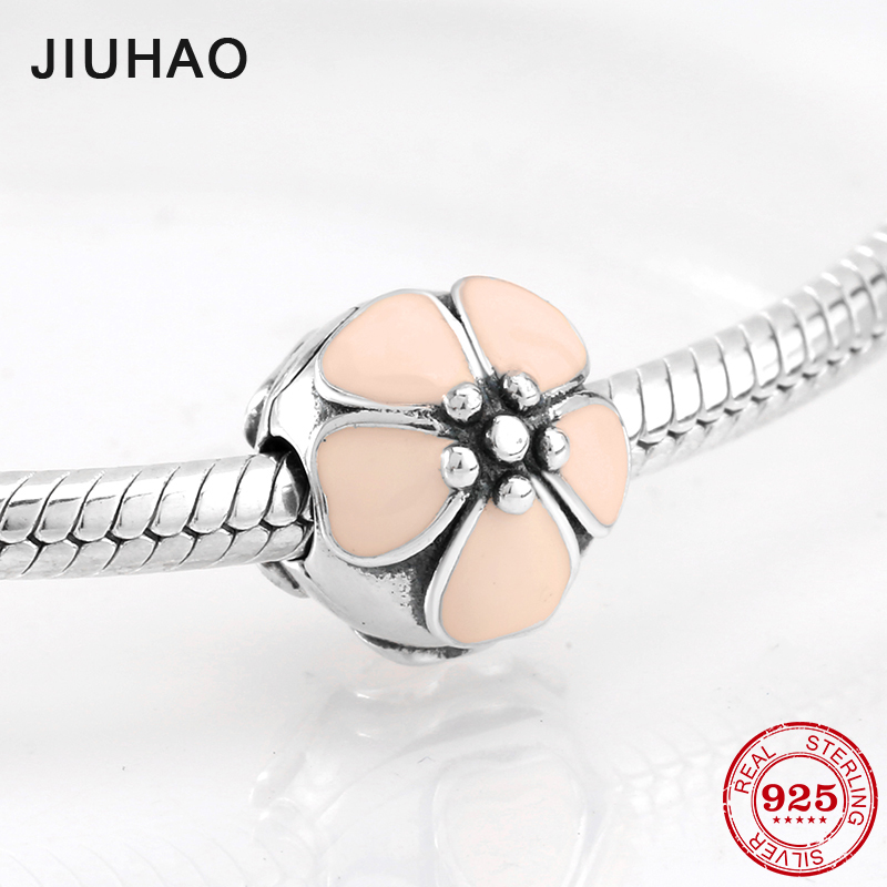 Sterling Silver 925 Fixed Clip Peach pink Stopper Lock Beads Fit Original Pandora Charms Bracelet DIY Silver Jewelry Making 2018