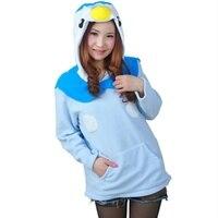 Karikatür Mavi Penguen Sweatshirt Uzun Kollu Fermuar ile Şapka Cosplay Penguen Kostüm Kadın Hoodies Hayvanlar Cosplay Tişörtü