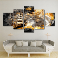 5 Panel Seascape Canvas Wall Art Boat in Sea Storm Posters and Print Abstract Wall Picture for Bedroom Home Decor Painting
