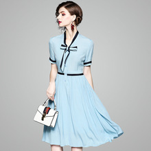 Summer Dress 2018 Women's Brief Patchwork V-Neck Bow Short Sleeved Slim A-Line Elegant Dress Midi S-XL Free Shipping long sleeved dress women 2019 spring summer new simple stripes turn down collar slim a line casual elegant dress midi s xl