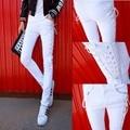 2016 personalidade não mainstream calças de cordão Quan Zhilong com casual jeans slim lápis calças