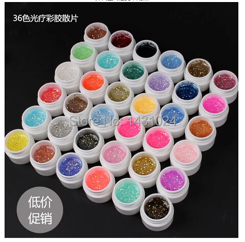 36PCS Glitter Shimmer Spangles Nail Art UV Gel for Acrylic Nails Glitter Powder UV Gel for UV Nail Art Tips