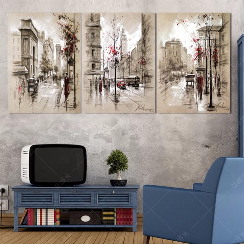 Modern 3 stuk interieur Modulair schilderen Abstract stad straat de muur foto's Schilderijen kunst Hd afdrukken Canvas foto