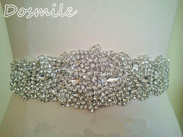 Vintage shinning white/ivory wedding belt crystal bridal band with beads rhinestone blings sparkles satin sash