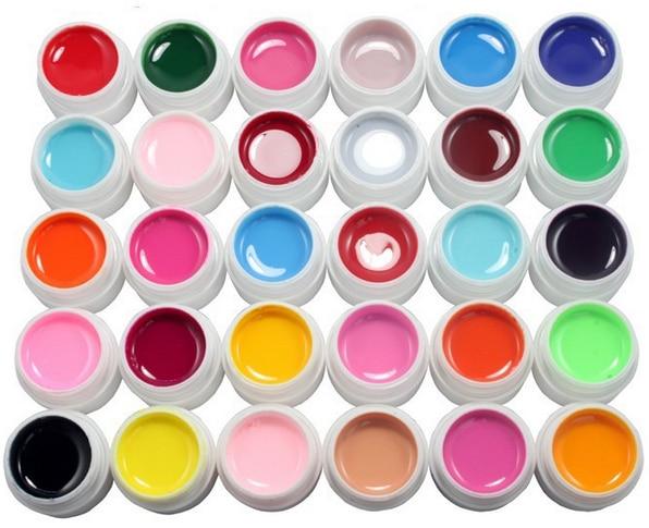 30 Color SOLID uv builder gel NAIL ART Polish cleanser plus top coat brush kit tips