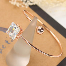 White /Rose Gold Color Classic Bangle Bracelets Cuff For Women Adjustable Charm Love Bangles(China)