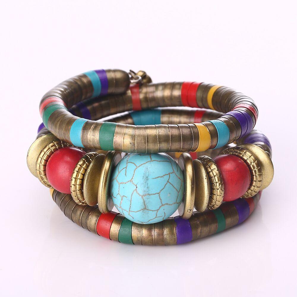 Vintage Boho Statement Bangle Bracelets Feminino Cuff Chain Nepal Retro Lava Stones Wristband Bracelet For Women Ethnic Jewelry