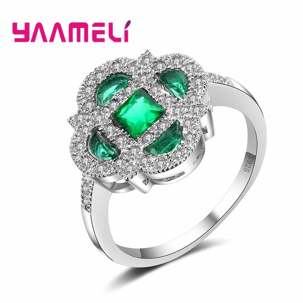 YAAMELI Women Jewelry Different Mystery Finger Rings Green Noble Cubic Zirconia Top Quality Hot 925 Sterling Silver Present