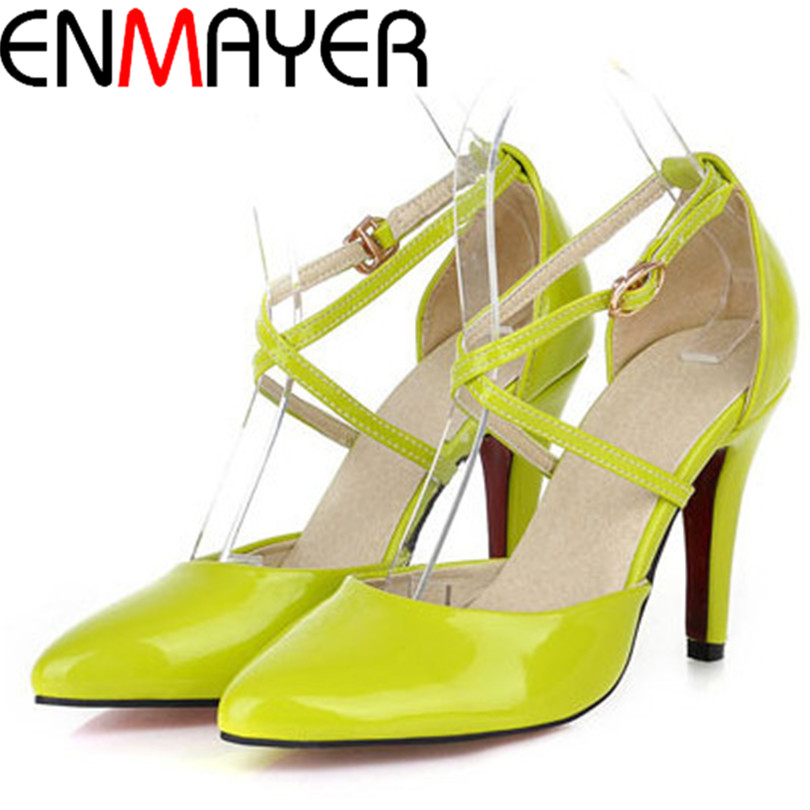 ENMAYER Summer <font><b>Women</b></font> Pumps Plain Ankle Strap <font><b>Closed</b></font> <font><b>Toe</b></font> Platform Pumps Fashion Buckle Strap Shoes <font><b>Women</b></font> Thin <font><b>Heels</b></font> <font><b>Pointed</b></font> <font><b>Toe</b></font>