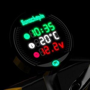Image 3 - العالمي للدراجات النارية متعددة الوظائف LED الرقمية الفولتميتر ساعة متر ميزان الحرارة عرض الصك