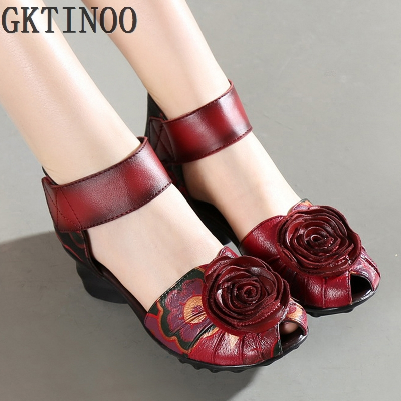 ФОТО 2017 Women Thick Heels Sandals Closed Toe Flower Ethnic Style Handmade Genuine Leather Personalized Women Sandal