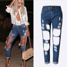 Ripped Boyfriend Jeans Para Mujeres Pantalones Vaqueros de Cintura Alta Mujeres Jeans Holgados Pantalones 2016 de Primavera y Verano Denim Jeans Femme Negro Blanco