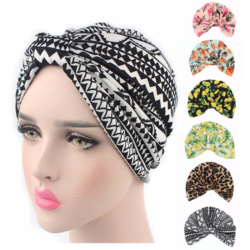 New Vintage Style Stretchy Cotton Floral Fruit Print Turban Hat Headband Wrap Chemo Bandana Hijab Pleated Indian Cap