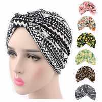 New vintage style stretchy Cotton floral fruit print Turban Hat Headband Wrap Chemo Bandana Hijab Pleated Indian Cap