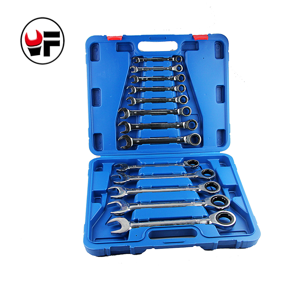 YOFE 13PCS Ratchet Wrench Set Mirror Polished Size: 8 10 12 13 14 17 19 21 22 24 27 30 32MM 20pcs m3 m12 screw thread metric plugs taps tap wrench die wrench set