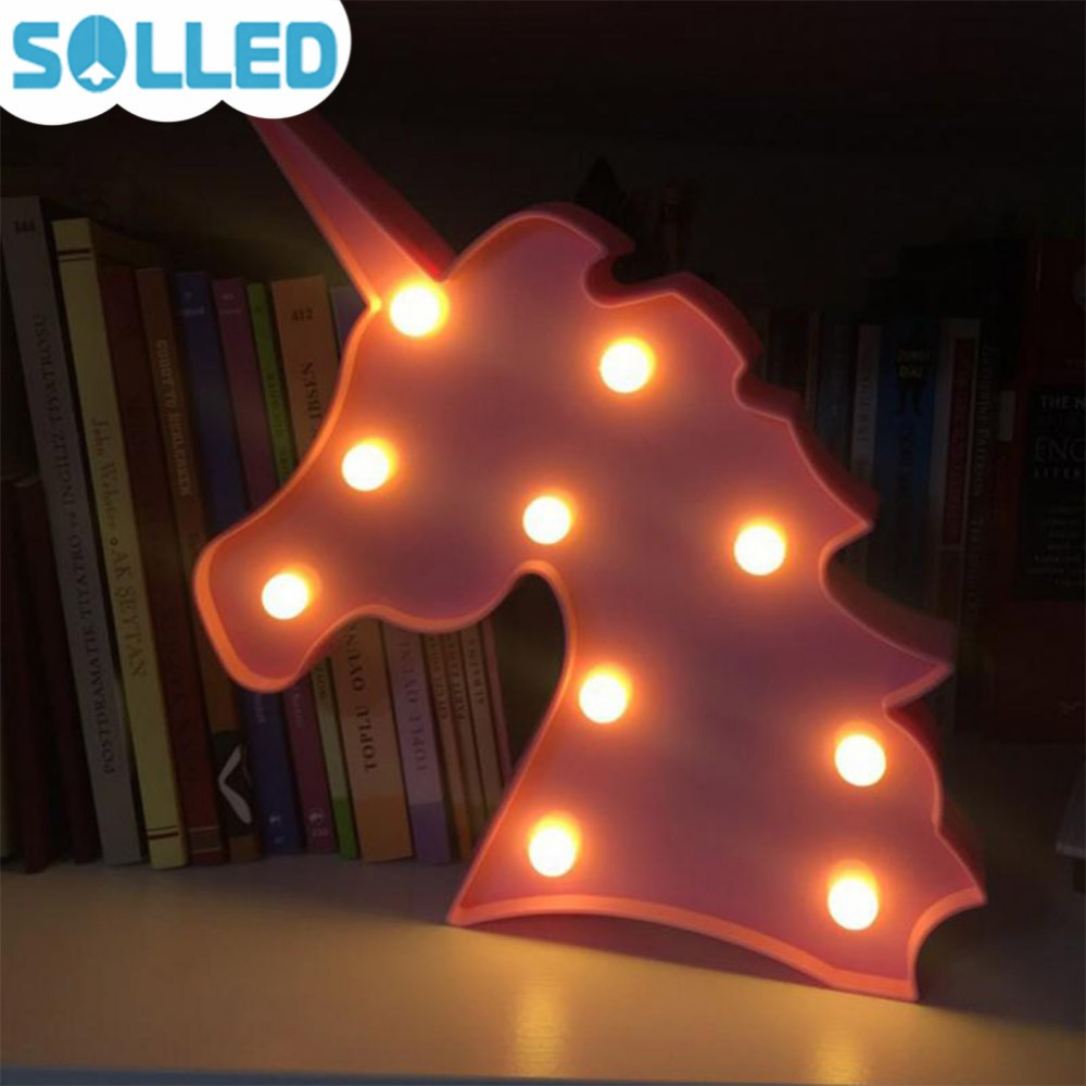 SOLLED 1Pcs Unicorn Head LED Night Light Animal Marquee Lamps On Wall For Kids Children Halloween Christmas Gifts