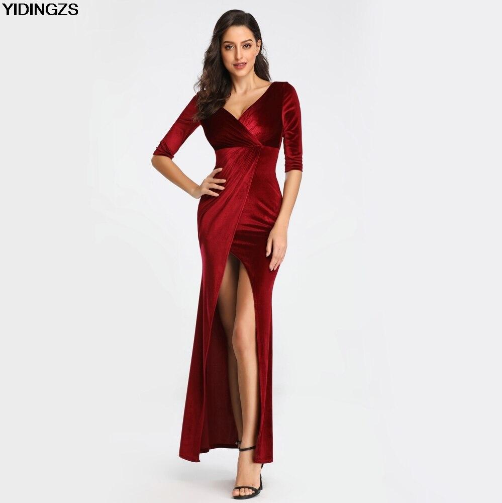 YIDINGZS бархатное однотонное сексуальное вечернее платье с разрезом и v-образным вырезом, с коротким рукавом, длинное вечернее платье