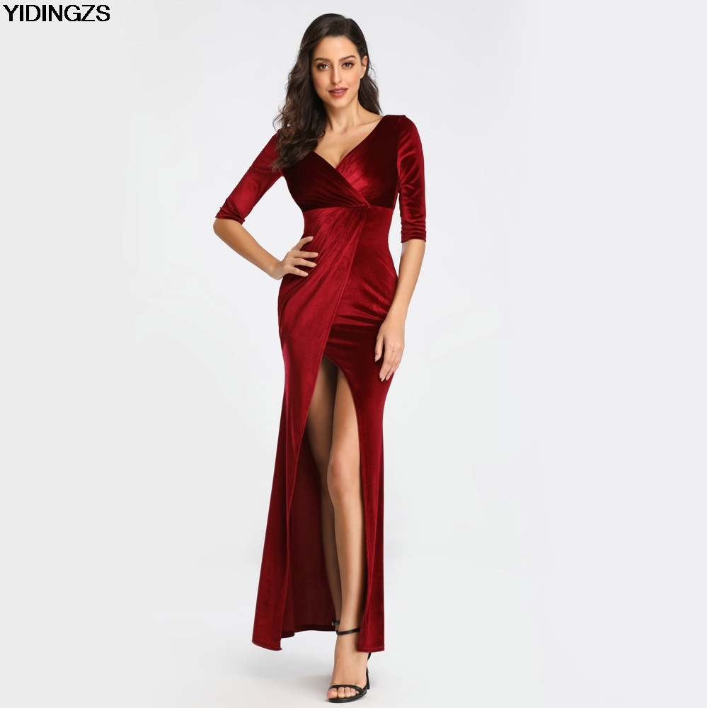 YIDINGZS Velvet Solid Color Slit Sexy Evening Dress Half Sleeve V Neck Long Evening Dress