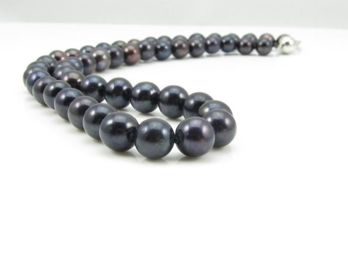 HOT## Wholesale > Stunning!8 9mm Black Akoya Cultured Pearl Jewelry Necklace 18 AA+