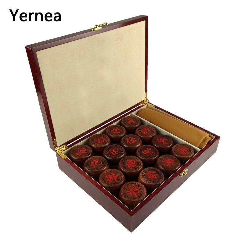 Yernea jeu d'échecs en bois chinois de haute qualité en cuir souple échiquier en bois massif bois de rose pièces d'échecs de qualité supérieure