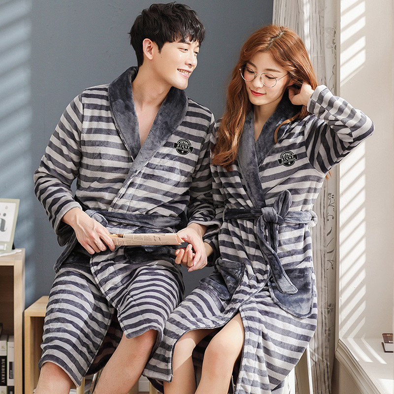 Autumn Winter Pajamas Thick Warm Flannel Couple Rathrobe Long Sleeve Striped Soft Plus Size M-3XL Lovers Robes Sleepwear