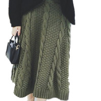 Autumn Twist Skirts Women S Design Fashion High Waist Long Knit Skirt