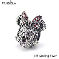 925 Sterling Silver Sparkling Mouse Girl Portriat Charm Fit DIY Bead Jewelry Making Woman Brand Bracelet Gifts