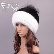 Тенденция Шляпа вязать реального норки подлинная silver fox меховой шапке переплетения процесса зимние шапки меховой моды лампы шапочка теплые женские меховые шляпа